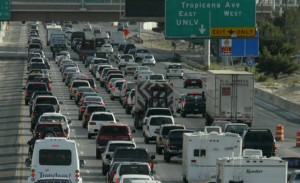 Motorists navigate rush hour traffic on Interstate 15 near the Strip. Las Vegas Sun file photo.