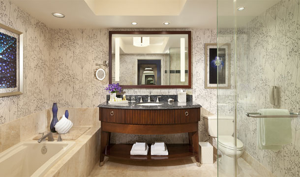 The updated bathrooms at the Bellagio feature LED lighting and double towel racks in keeping with the resort's commitment to sustainability.