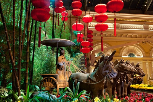 This was part of the spectacular display celebrating Chinese New Year in 2011 at the Bellagio Conservatory.