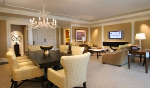 The living room in the Senators Suite at Caesars Palace