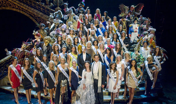 """The 2012 Miss America contestants enjoy a night out seeing """"Phantom: The Las Vegas Spectacular"""" at The Venetian."""