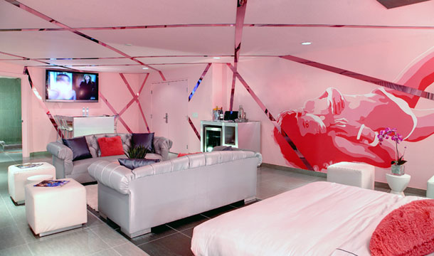 The pink Mega Diva Suite at Rumor Boutique Hotel