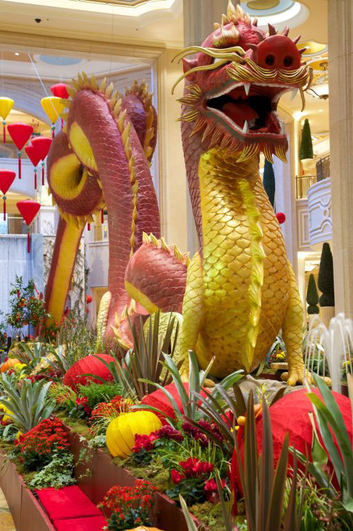 Ring in the Year of the Dragon at The Waterfall & Atrium Gardens in The Palazzo, where you can see a fire-breathing dragon.