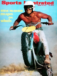 Steve McQueen riding his Husqvarna 400 Cross on the cover of the Aug. 22, 1971 Sports Illustrated.