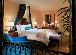 The bedroom in the Piazza Suite at The Venetian
