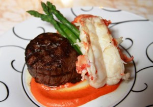 Steak and lobster at The Eiffel Tower Restaurant.