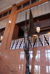 """The """"Winged Genius"""" sculpture at The Smith Center"""