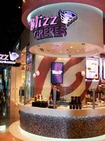 The crêpe station at Blizz Frozen Yogurt & Deserts