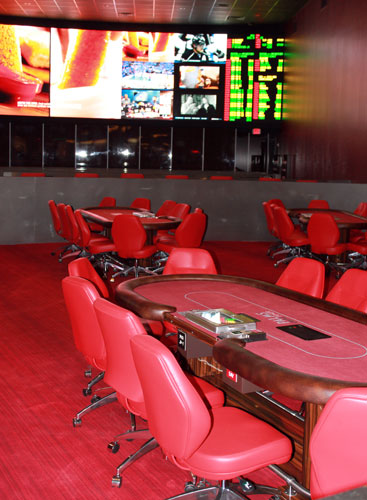 The poker room in Cantor Race and Sports Book at the Palms