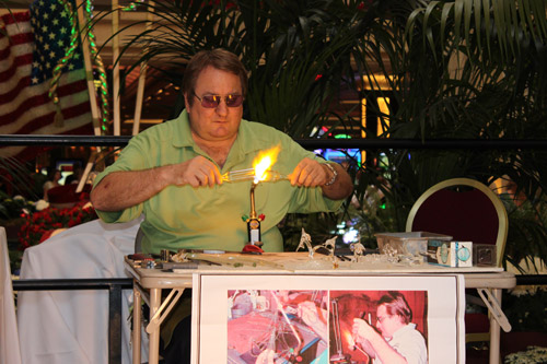 Dr. Robert Shield demonstrates the art of glass blowing.