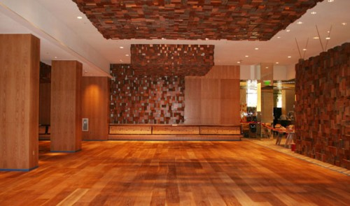 The wood-inspired dining area at the Bacchanal Buffet
