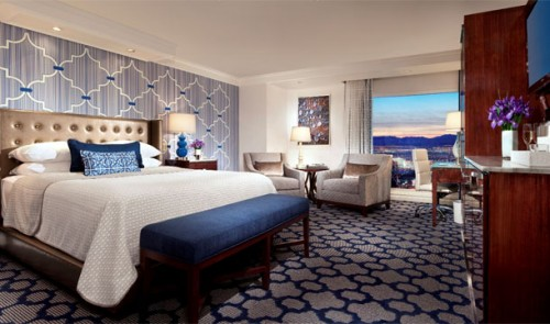 A new Resort King guest room at the Bellagio