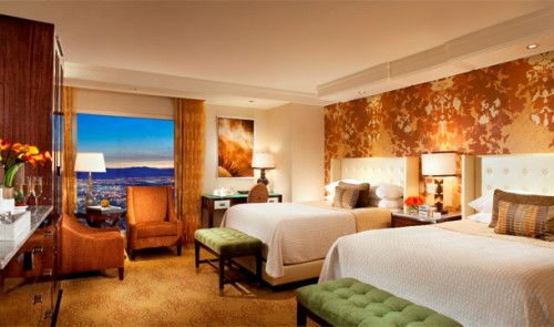 A new Resort Queen guest room at the Bellagio