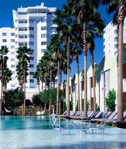 The pool and exterior of the Delano South Beach