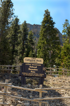 The trailhead for Cathedral Rock at Mount Charleston