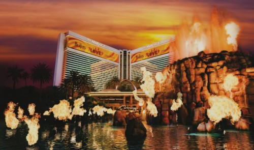 The Mirage volcano in Las Vegas