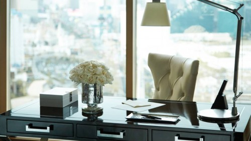 The spacious desk in newly redesigned room at the Four Seasons Hotel Las Vegas