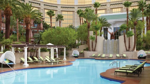 The pool area at the Four Seasons Hotel Las Vegas