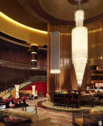 A crystal chandelier in the lobby bar at the Red Rock Casino, Resort & Spa