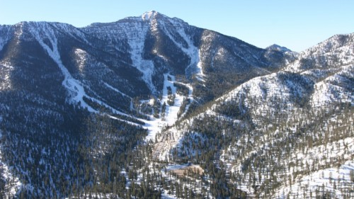 An aerial view of Lee Canyon and LVSSR