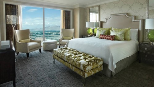 A newly remodeled guest room at the Four Seasons Hotel Las Vegas