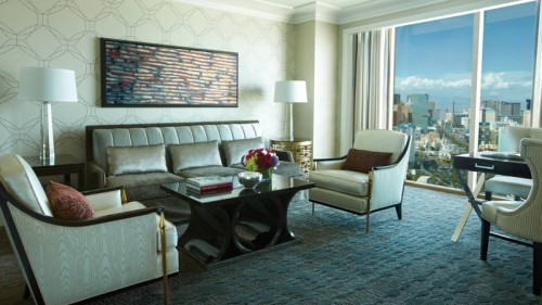 A living room with a sophisticated design scheme in one of the restyled suites
