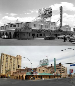 Images showing the El Cortez in 1953 [top] and more recently in 2008 [bottom]. (Photos courtesy of the Las Vegas News Bureau)