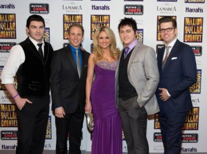 "The Vegas version of the Broadway hit ""Million Dollar Quartet"" boasts a stellar cast. Left to right: Benjamin D. Hale (Johnny Cash), Martin Kaye (Jerry Lee Lewis), Felice Garcia (Dyanne), Tyler Hunter (Elvis Presley), Robert Britton Lyons (Carl Perkins)"