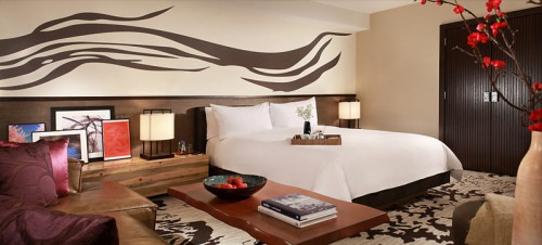 The deluxe king room at Nobu Hotel