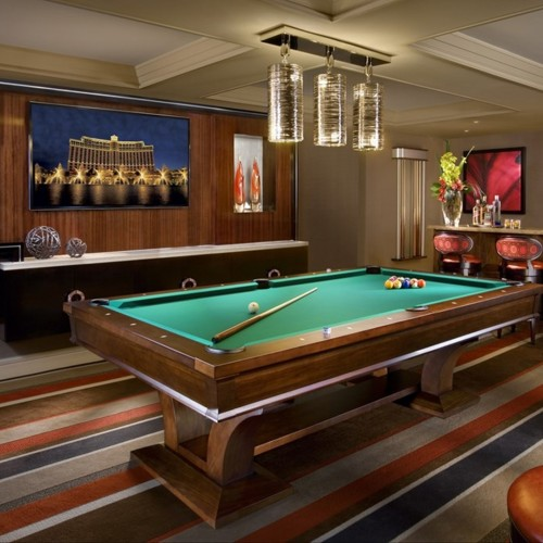 The billiards lounge in the executive parlor suite at Bellagio