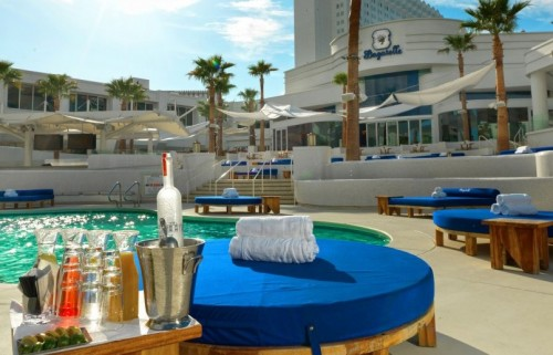 A lilypad and bottle service at Bagatelle Beach in Las Vegas