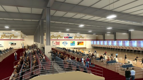 A rendering of the new bowling center at the South Point in Las Vegas