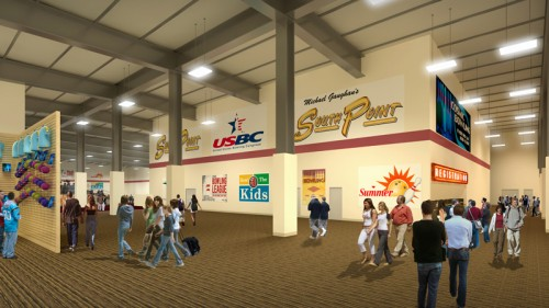 Rendering of the concourse and registration area at the new bowling center at at the South Point in Las Vegas