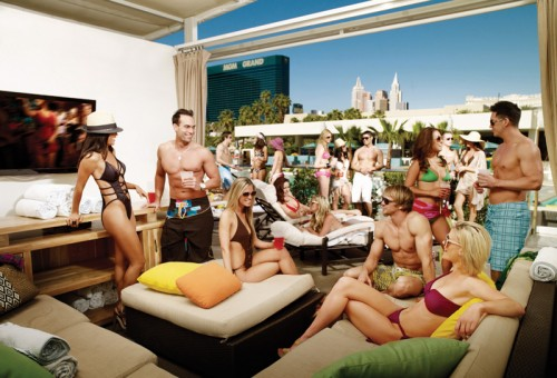 A VIP bungalow at Wet Republic in Las Vegas