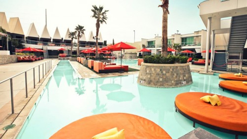 Daybeds and lilypads at Palms Pool