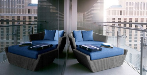 The stunning balcony in the Wraparound Terrace Suite at The Cosmopolitan