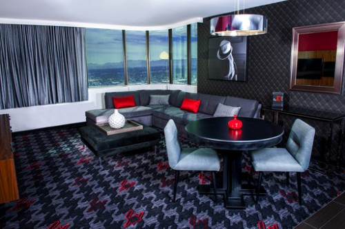 The living room in the D Suite at the D Las Vegas