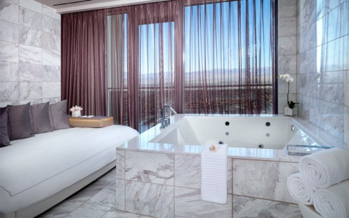 The cantilevered spa tub in Penthouse A at the Palms