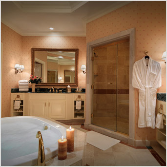 The Italian marble bathroom in the Prima Suite at The Venetian