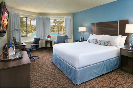 A remodeled king room at Silver Sevens