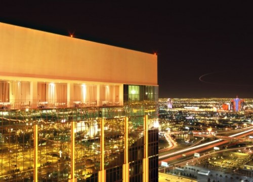 The balcony at Mix Lounge atop THEhotel at Mandalay Bay