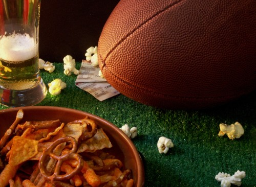 football with food and beer