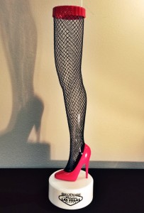 Fishnet stockinged leg cup from Walgreens (photo by Ryan Shewchuck)