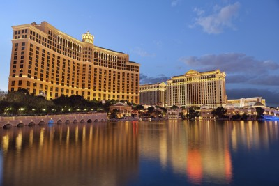 Bellagio and Caesars Palace by Rudy Balasko / Getty Images.