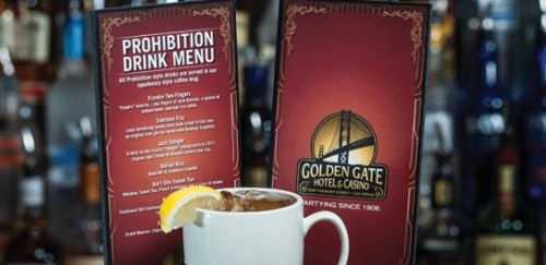 The Prohibition Drink Menu at Bar Prohibition! in Golden Gate Hotel & Casino