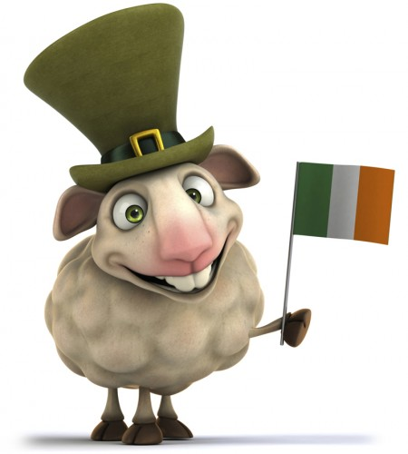 Sheep waving Irish flag