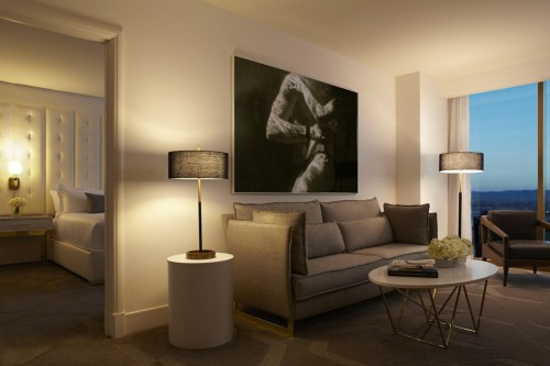 A wide view of a suite at Delano Las Vegas