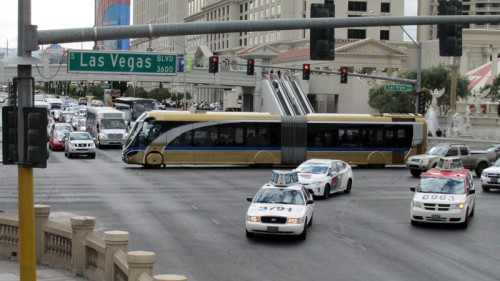 The Deuce buses and taxis on Las Vegas Boulevard