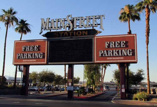 A surface parking lot at Main Street Station