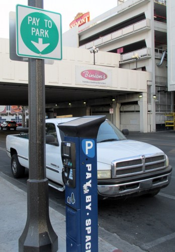 Street-side parking near Binion's